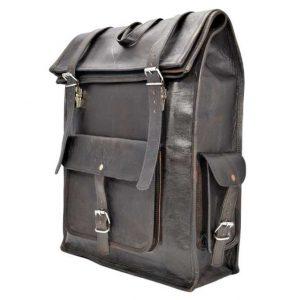 pojemny plecak rolltop skórzany