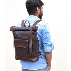 wygodny plecak ze skóry brązowy