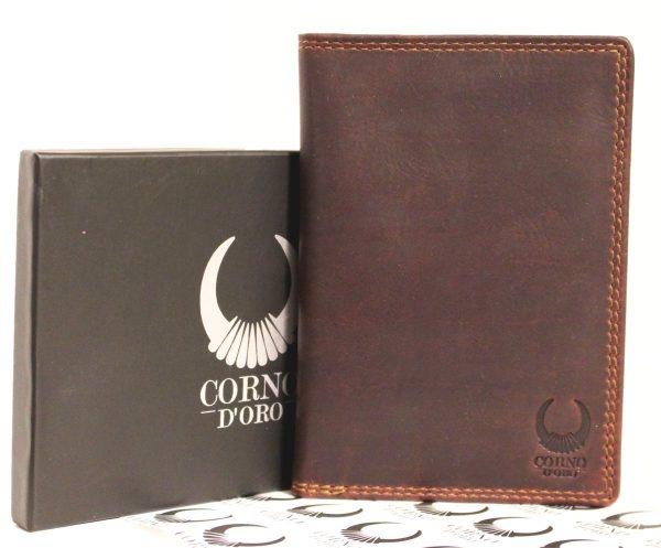 portfel ze skóry brązowy organizer
