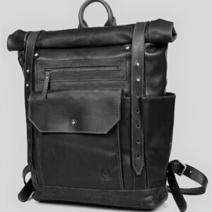 plecak skórzany czarny rolltop