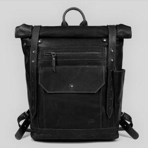 plecak skórzany rolltop czarny premium
