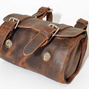 pojemny kufer skórzany